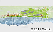 Physical Panoramic Map of Santiago de Cuba, lighten
