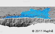 Political Panoramic Map of Santiago de Cuba, desaturated