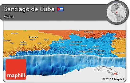 Political Panoramic Map of Santiago De Cuba
