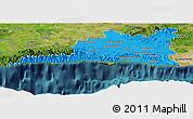 Political Panoramic Map of Santiago de Cuba, satellite outside