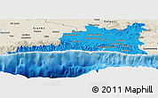 Political Panoramic Map of Santiago de Cuba, shaded relief outside
