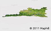 Satellite Panoramic Map of Santiago de Cuba, cropped outside