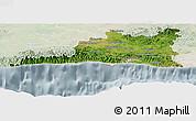 Satellite Panoramic Map of Santiago de Cuba, lighten