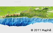 Satellite Panoramic Map of Santiago de Cuba, physical outside