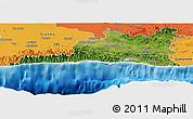 Satellite Panoramic Map of Santiago de Cuba, political outside