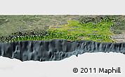 Satellite Panoramic Map of Santiago de Cuba, semi-desaturated