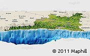 Satellite Panoramic Map of Santiago de Cuba, shaded relief outside