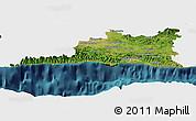 Satellite Panoramic Map of Santiago de Cuba, single color outside
