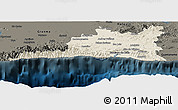 Shaded Relief Panoramic Map of Santiago de Cuba, darken