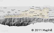 Shaded Relief Panoramic Map of Santiago de Cuba, desaturated
