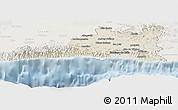 Shaded Relief Panoramic Map of Santiago de Cuba, lighten