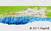 Shaded Relief Panoramic Map of Santiago de Cuba, physical outside