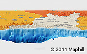 Shaded Relief Panoramic Map of Santiago de Cuba, political outside