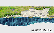 Shaded Relief Panoramic Map of Santiago de Cuba, satellite outside