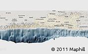 Shaded Relief Panoramic Map of Santiago de Cuba, semi-desaturated