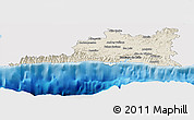 Shaded Relief Panoramic Map of Santiago de Cuba, single color outside