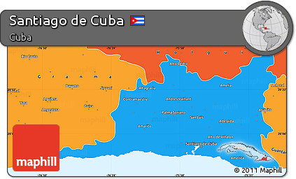 Political Simple Map of Santiago De Cuba