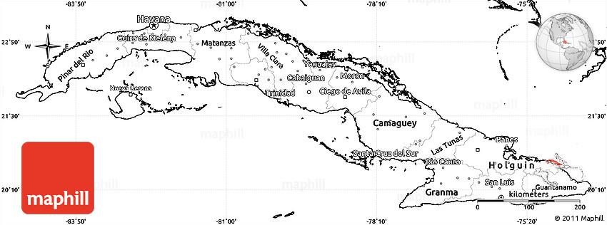 Blank Simple Map Of Cuba - Political map of cuba