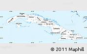 Gray Simple Map of Cuba