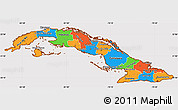 Political Simple Map of Cuba, cropped outside