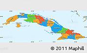 Political Simple Map of Cuba, political shades outside