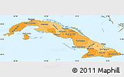 Political Shades Simple Map of Cuba, political outside