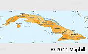 Political Shades Simple Map of Cuba
