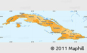 Political Shades Simple Map of Cuba, single color outside
