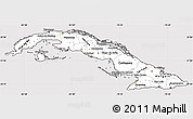 Silver Style Simple Map of Cuba, cropped outside