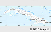 Silver Style Simple Map of Cuba