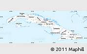 Silver Style Simple Map of Cuba, single color outside