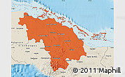 Political Map of Villa Clara, shaded relief outside
