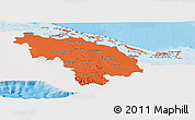 Political Panoramic Map of Villa Clara, single color outside