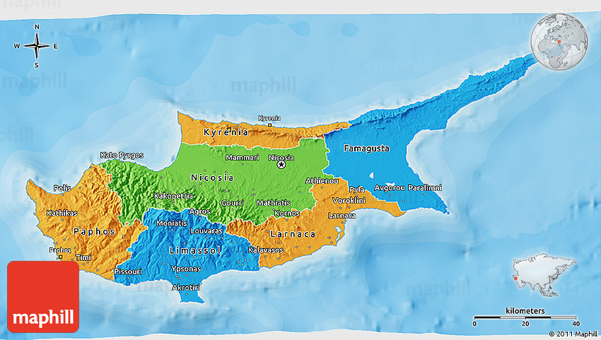 Political 3D Map of Cyprus