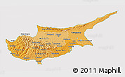 Political Shades 3D Map of Cyprus, cropped outside