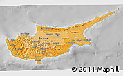 Political Shades 3D Map of Cyprus, desaturated