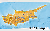 Political Shades 3D Map of Cyprus, physical outside