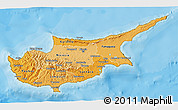 Political Shades 3D Map of Cyprus, satellite outside, bathymetry sea