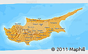 Political Shades 3D Map of Cyprus, semi-desaturated, land only