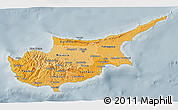 Political Shades 3D Map of Cyprus, semi-desaturated