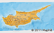 Political Shades 3D Map of Cyprus, shaded relief outside, bathymetry sea