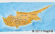 Political Shades 3D Map of Cyprus, single color outside