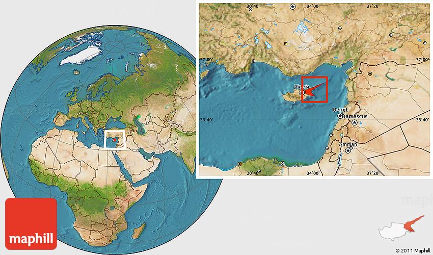 Satellite Location Map of Famagusta
