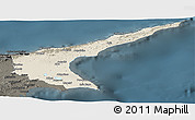 Shaded Relief Panoramic Map of Famagusta, darken