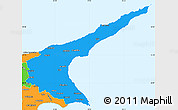 Political Simple Map of Famagusta