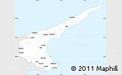 Silver Style Simple Map of Famagusta, single color outside