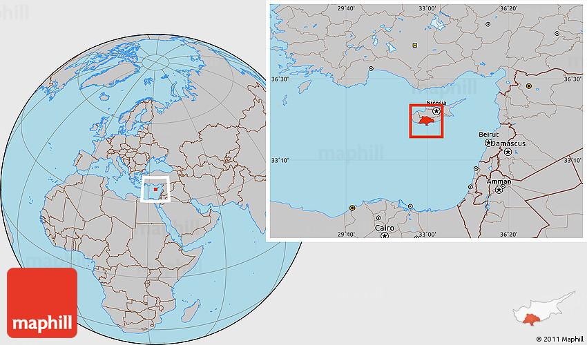 Gray Location Map of Limassol