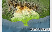 Physical Map of Limassol, darken
