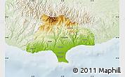Physical Map of Limassol, lighten