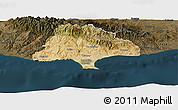 Satellite Panoramic Map of Limassol, darken